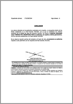 Compliance with RD140/2003 (Spain)