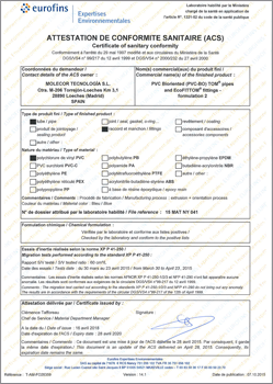 Sanitary certificate of compliance (ACS), (France)